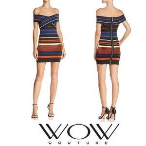 NWT WOW COUTURE Striped Bandage Bodycon Mini Dress